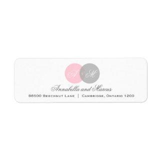Rose et étiquette de adresse de monogramme enlacé  étiquettes d'adresse retour