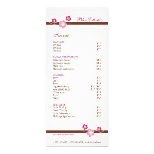 Rose et modèle de menu de spa de Brown Sakura Double Carte