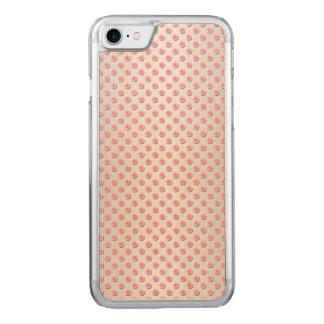 Rose et motif de point blanc argenté de polka coque carved iPhone 8/7