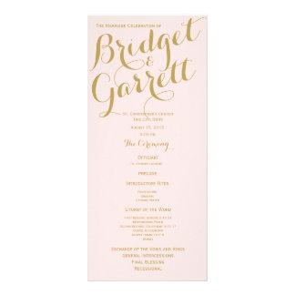 Rose et programme de mariage d'or modèle de carte double