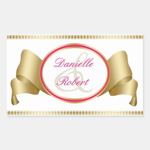 Rose et ruban et remous d'or épousant des sticker en rectangle