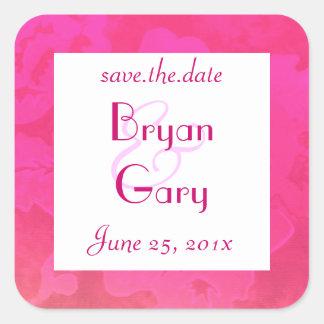 Rose Fantasy WEDDING Save The Date Square Sticker