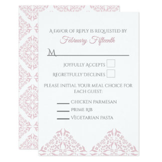 Rose Filigree RSVP card Vertical