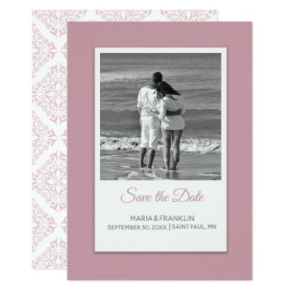 Rose Filigree Save the Date Card