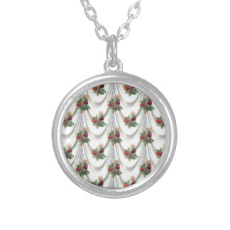rose Floral, Art, Design, Beautiful, New, Fashion Silver Plated Necklace
