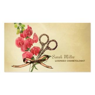 rose floral de ciseaux de coiffeur girly vintage cartes de visite personnelles