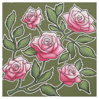 Rose Floral Green Background Fabric