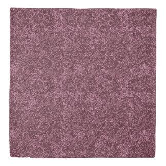 Rose Floral in Wine Color Duvet Cover