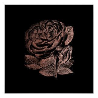 Rose Floral Metallic Pink Gold Black Glam Minimal Poster