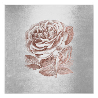 Rose Floral Metallic Pink Gold Silver Gray Minimal Perfect Poster