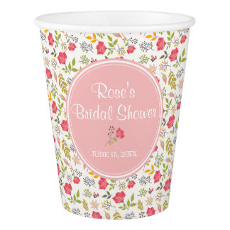 Rose Floral   Paper Cups