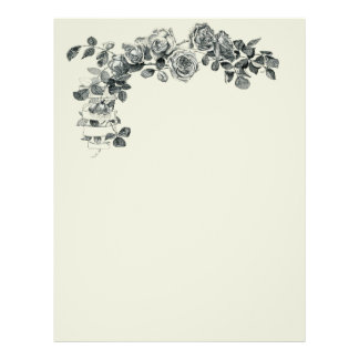 Rose Floral Ribbon Wreath Flower Bouquet Letterhead