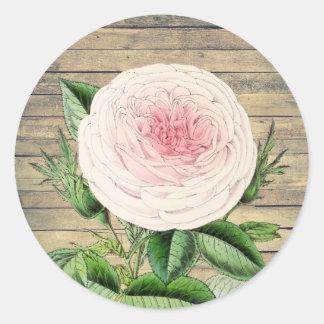 Rose floral rustic vintage sticker in pink