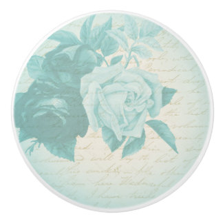 Rose floral vintage ceramic knob in blue