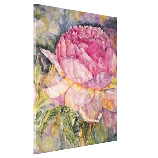 Rose Floral Watercolor Canvas Print 24x20