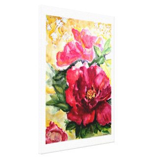 Rose Floral Watercolor Print Wrapped Canvas