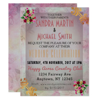 Rose Floral Wedding Invitation Customize