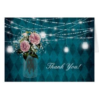 Rose Flower Baby's Breath Diamond Blue Mason Light Card