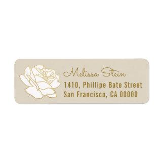 rose flower beige return address label with name