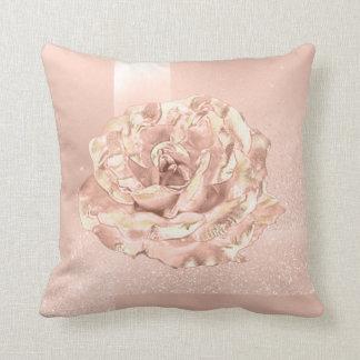 Rose Flower Blush Skinny Glitter Peach Geometry Throw Pillow