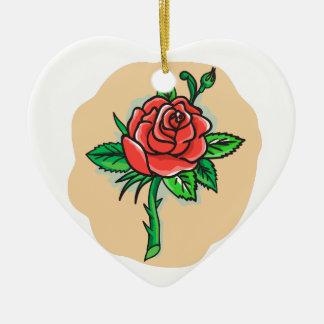 Rose Flower Bud Leaves Thorn Tattoo Ceramic Heart Ornament