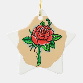 Rose Flower Bud Leaves Thorn Tattoo Ceramic Star Ornament