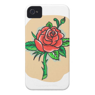 Rose Flower Bud Leaves Thorn Tattoo iPhone 4 Case-Mate Cases