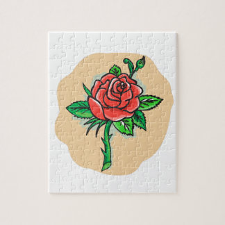 Rose Flower Bud Leaves Thorn Tattoo Jigsaw Puzzle