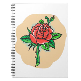 Rose Flower Bud Leaves Thorn Tattoo Notebook