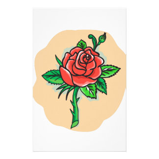 Rose Flower Bud Leaves Thorn Tattoo Stationery