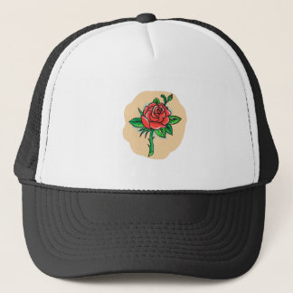 Rose Flower Bud Leaves Thorn Tattoo Trucker Hat