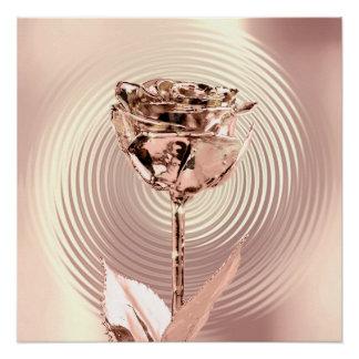 Rose Flower Gold Blush Copper Metallic Silk Circle Poster
