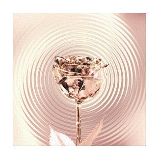 Rose Flower Gold Blush Copper Metallic Silk Luxury Canvas Print