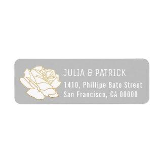 rose flower gray return address label with names