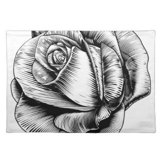 Rose Flower in Engraved Etching Woodcut Style Placemat