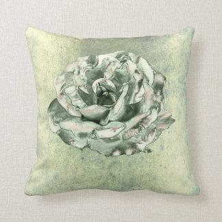 Rose Flower Mint Green Metallic Grungy Cottage Throw Pillow