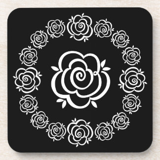 Rose Flower Outlines in a Circle - White and Black Coaster