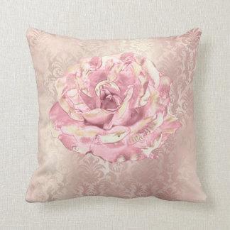 Rose Flower Pink Blush Pastel Pearl  Metal Damask Throw Pillow