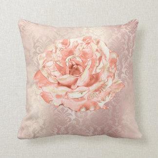 Rose Flower Pink Damask Pastel Pearl  Metal Lux Throw Pillow