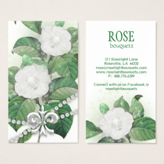 Rose Flower Sparkle Lights Pearls Fleur de Lis Business Card