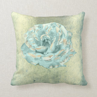 Rose Flower Tiffany Mint Elegant Grungy Cottage Throw Pillow