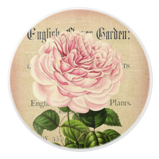 Rose flower vintage feminine floral ceramic knob