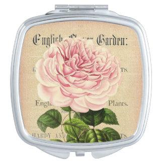 Rose flower vintage feminine floral compact mirror