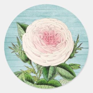 Rose flower vintage floral sticker w/ blue wood