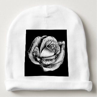 Rose Flower Vintage Style Woodcut Engraved Etching Baby Beanie
