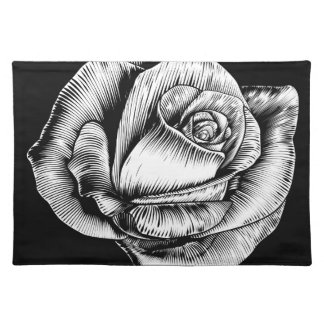 Rose Flower Vintage Style Woodcut Engraved Etching Placemat