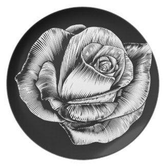 Rose Flower Vintage Style Woodcut Engraved Etching Plate