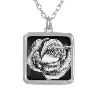 Rose Flower Vintage Style Woodcut Engraved Etching Silver Plated Necklace