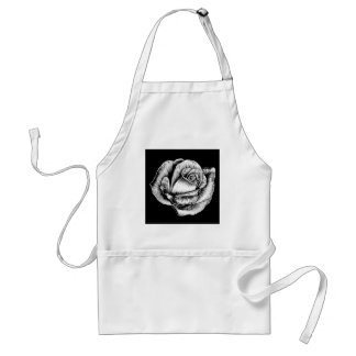 Rose Flower Vintage Style Woodcut Engraved Etching Standard Apron