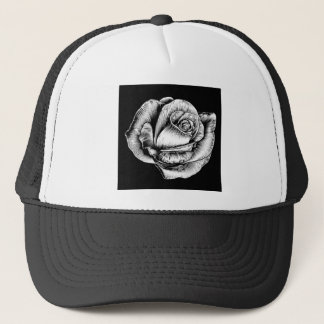 Rose Flower Vintage Style Woodcut Engraved Etching Trucker Hat